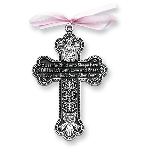 Pewter Finish Pink Ribbon Bless This Child Cross