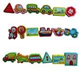 FAIRY POCKET Wooden Links Vehicles Toys Set , Baby Child Hand Skill Development Cars Toy