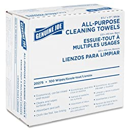 Genuine Joe GJO20275 All-Purpose Cleaning Towel, 9.9'' Length x 5.1'' Width, White (Box of 100)