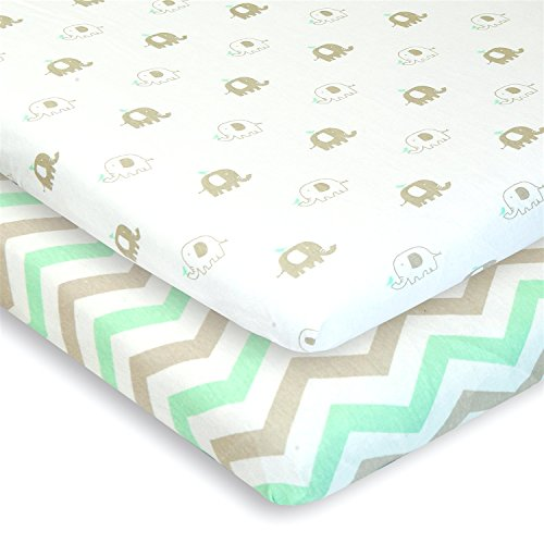 Cuddly Cubs Pack n Play Playard Sheets – Set of 2 Jersey Cotton Fitted Sheets for Mini/Portable Crib Mattress – Gray and Mint with Chevron & Baby Elephants – TOP QUALITY Nursery Bedding for Boy/Girl