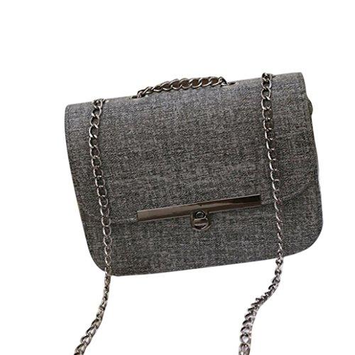 Adatti a donne catena in pelle borsetta (Grigio scuro)