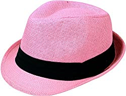 TAUT Unisex Fedora Hat Short Brim Sun Cap with Solid Color Band LXL Pure_Pink