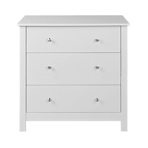 NJA Furniture Shaker - Comò con 3 cassetti, 80 x 40 x 72 cm, verniciato bianco