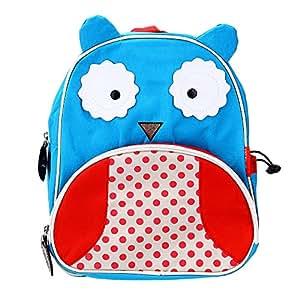 Sac à Dos Cartable Ecole Hibou Rouge+Bleu Maternelle Enfants