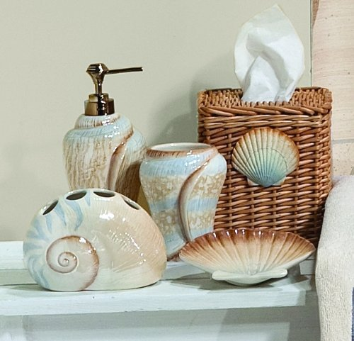 Seashell bathroom decorating ideas for Beach themed bathroom decor