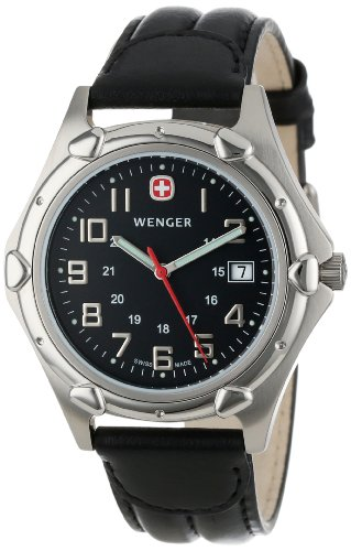 Wenger Men'S 73115 Standard Issue Xl Charcoal Dial Black Leather Strap Watch