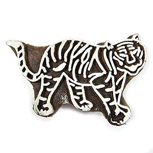 Timbres indiennes de textiles en bois Bois impression Bloquer Tiger Bloc décoratif