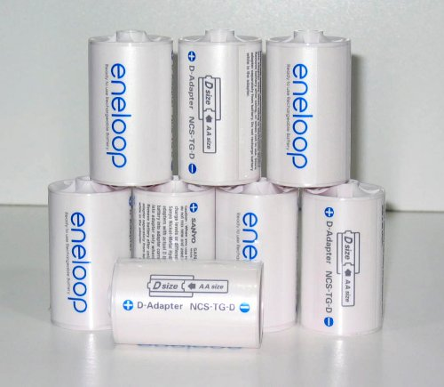 Sanyo Eneloop Spacer Pack: 8 Pack of D-size Adapters [Hassle Free Packaging]