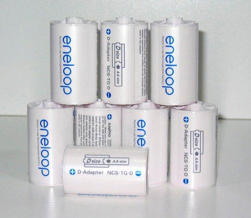 Sanyo Eneloop Spacer Pack: 8 Pack of D-size Adapters [Hassle Free Packaging]