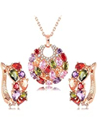 Yellow Chimes Swiss Zircon Rainbow Colors Exquisite 16k Rose Gold Plated Pendant With Earings Set For Women And...