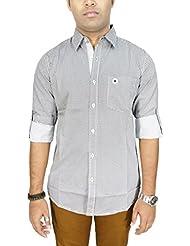 AA' Southbay Men's White 100% Premium Cotton Long Sleeve Casual Shirt