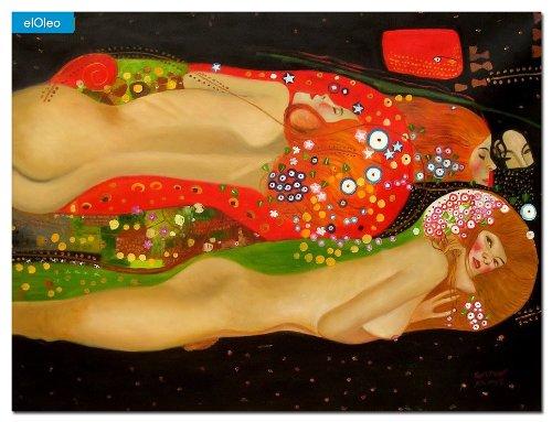 elOleo Gustav Klimt – Wasserschlangen 90×120 Gemälde auf Leinwand handgemalt 83554A günstig online kaufen