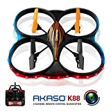 AKASO K88 2.4GHz 4 CH 6 Axis Gyro RC Quadcopter with HD Camera, 360-degree Rolling Mode 2 RTF LED RC Drone - Best Reviews Guide