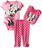 Disney Baby Baby-Girls Newborn Minnie Mouse 3 Piece Bodysuit and Pant Set, Pink, 3/6 Months