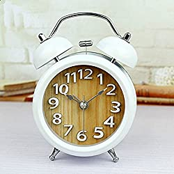 Usany 5'' Two Bells 3D Table Clocks Desktop Clock Home Decoration Desk Clocks Non-ticking Silent Quartz Vintage Alarm Clocks with Nightlight and Loud Alarm