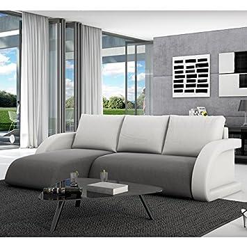Innocent sofá de tela gris con la función del sueño almohadillas de cuero sintético blanco Anantara