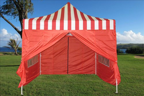 10x10 Pop up 4 Wall Canopy Party Tent Gazebo Ez Red Stripe F Model - 2013 Upgraded New Model image