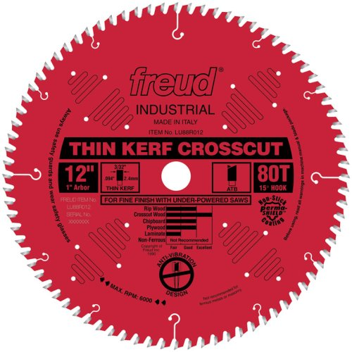 Freud LU88R012 Industrial Thin Kerf Fine Finish Crosscut Saw Blade 12 inch x 80t ATB 1 inch arbor Perma-Shield Coated