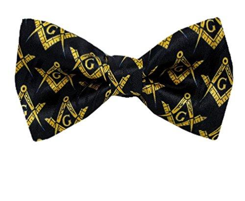 Pbtn-175 - Black - Gold - Mens Masons Pre Tied Bow Tie