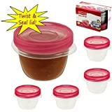 Rubbermaid Take Along 9.64 oz/1.2 Cups Twist & Seal Clear Plastic Storage Containers - Set of 4 - BPA Free