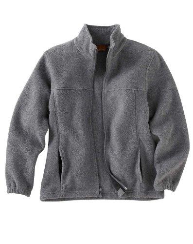Harriton youth M990Y 8 oz Full-Zip Fleece-Charcoal-Large