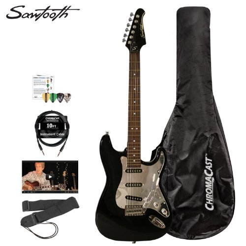 Sawtooth Black Electric Guitar W/ Chrome Pickguard - Includes: Nylon Strap, 10Ft S/S Molded Black Cable, 4 Pick Sampler, Nylon Gig Bag And Online Lesson