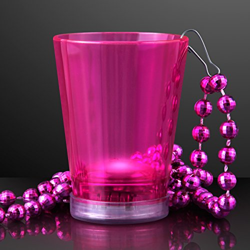 Pink Light Up Shot Glass on Party Bead Necklace (Set of 6)