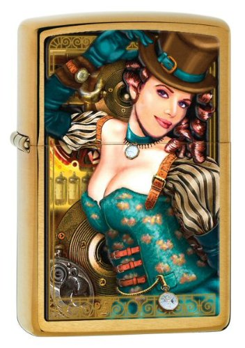 Zippo Brush Brass Industrial Machinery Lady Lighter (Gold, 5 1/2x 3 1/2-Cm)