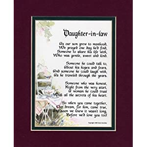 Special Wedding Gift For Daughter In Law : Gift For A Daughter in law. Touching 8x10 Poem, Double