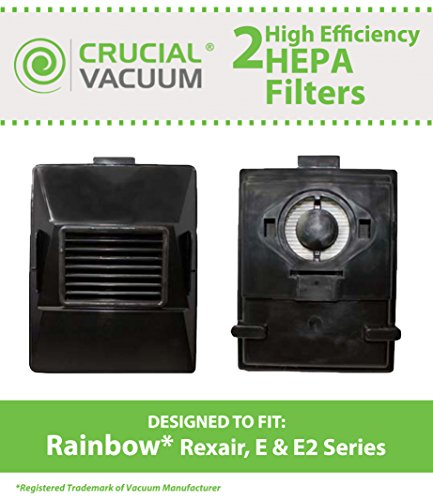 2 Rainbow Rexair Cleaner E Series Vacuum Cleaner E Series - Washable & Reusable Exhaust HEPA Filter - Compare to Part# R10520, R-10520, R12106B; Designed & Engineered by Crucial Vacuum (Rainbow E2 Black Hepa Filter compare prices)