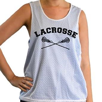 Girls Racerback Pinnie - Lacrosse With Crossed Sticks Black by ChalkTalkSPORTS