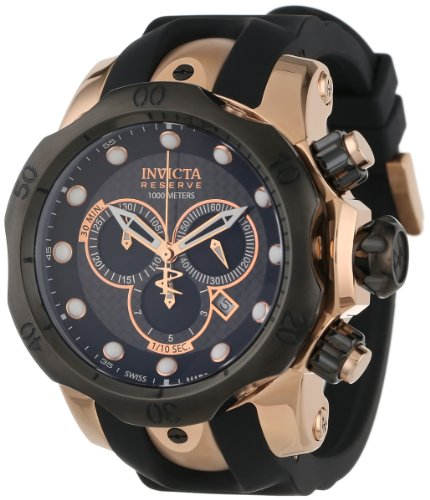 Invicta Men's 0361 Reserve Collection Venom Chronograph Black Polyurethane Watch