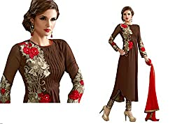 BROWN EMBELISHED DRESS MATERIAL BY BALKRISHNA FABRICS