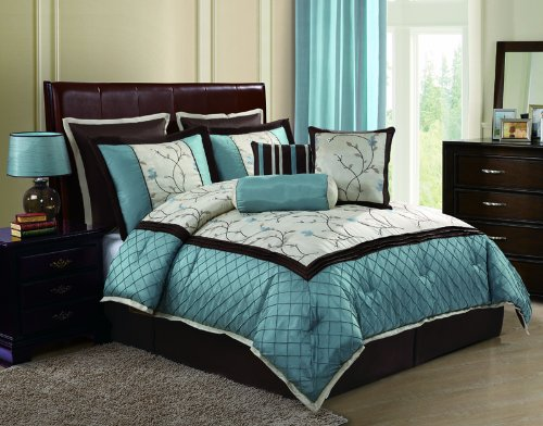 Victoria Classics Alexandria8-Piece Queen Comforter Set, Blue