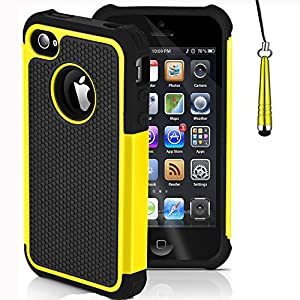 Mobile-Heaven Apple iPhone 4 4S Premium Yellow Shock Proof Case Cover Includes Screen Protector, Cleaning Cloth And Stylus Pen