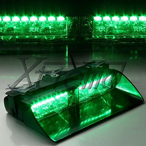 Xtreme® Green 16 Led High Intensity Led Law Enforcement Emergency Hazard Warning Strobe Lights For Interior Roof / Dash / Windshield With Suction Cups