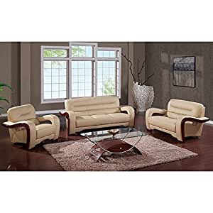 Global Furniture Usa 992 Rv 3 Piece Bonded Leather Living Room Set In Cappuccino