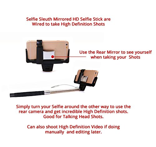 selfie stick by selfie sleuth p high definition mirrored selfie kit works se. Black Bedroom Furniture Sets. Home Design Ideas