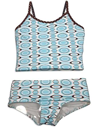 405 South by Anita G - Girls 2 Piece Tankini Swimsuit, Blue, Brown, White 28684-6X