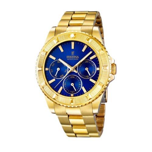 Festina Vendome F16693/3 - Reloj analógico de cuarzo para mujer, correa de acero inoxidable chapado color dorado (agujas luminiscentes)