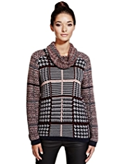 Limited Edition Cowl Neck Contrast Print Jumper with Mohair