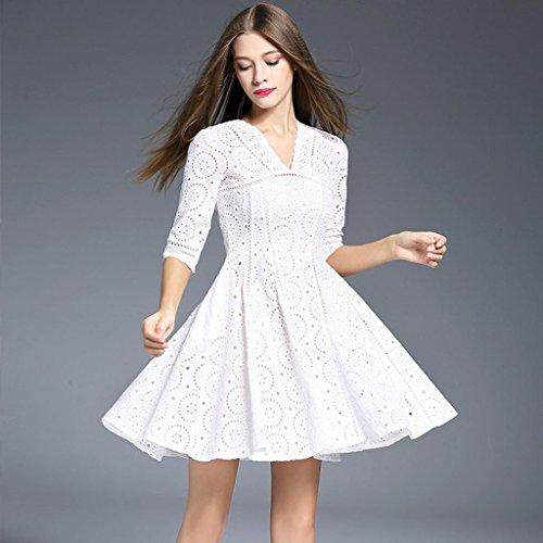 ZYQYJGF Moda Femminile Europea Traforato Ricamo Bianco Slim Un Abito Twin Set White Xl