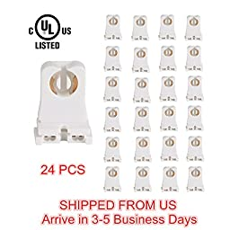 UL Listed Non-shunted T8 Lamp Holder, JACKYLED Socket Tombstone for LED Fluorescent Tube Replacements Turn-type Lampholder, Medium Bi-pin Socket for Programmed Start Ballasts, 24 Pack