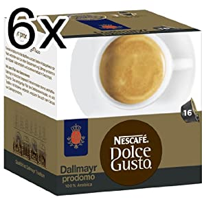 Nescafé Dolce Gusto Dallmayr prodomo, Pack of 6, 6 x 16 Capsules