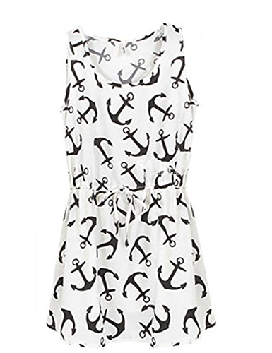 2014 Fashion Women's Summer Nautical Anchor Printing Mini Sundress (M, White)