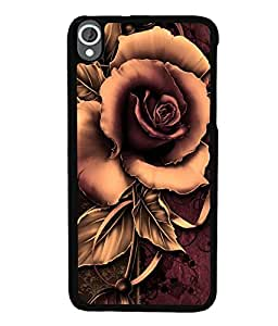 Fuson Premium Artistic Rose Metal Printed with Hard Plastic Back Case Cover for HTC Desire 820