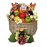 Rosh Hashanah Extravaganza Basket-Fruit-Honey-Chocolates