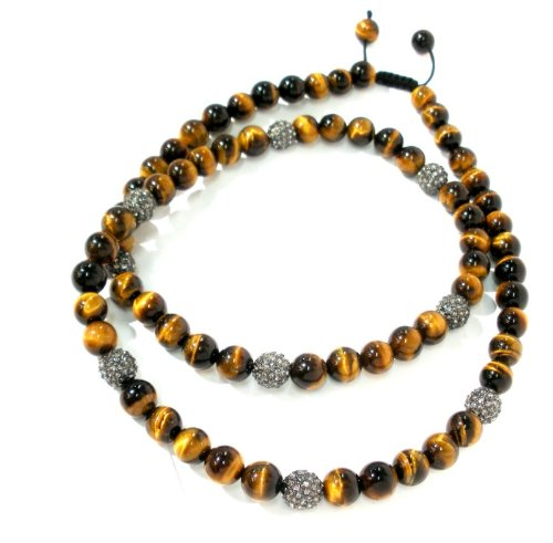 Shamballa Necklace 30 Inches 10mm Smooth Brown Tiger Eye with Nine 10mm Gunmetal Black Diamond Crystal Pave Beads Adjustable Macrame Closure Unisex
