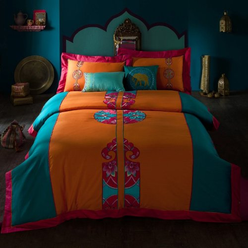 Fadfay Home Textile,Beautiful Embroidered Bedding Set,High Quality 100% Cotton Embroidery Duvet Cover Bedding Set,Queen,4Pcs front-1031756