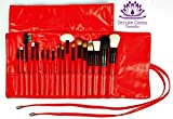 Makeup Brushes Set - 18 pcs Best Quality Cosmetic Brush Kit - Red Roll up Travel Case - Pro Brushes Include Foundation Contour Blush Eye Lip and Brow Brushes - Natural and Synthetic Hair Brushes - Perfect Birthday Anniversary Graduation Gift - Beautifully Presented in Quality Gift Box. BONUS Brush Description Brochure - 100% Customer Satisfaction Guaranteed